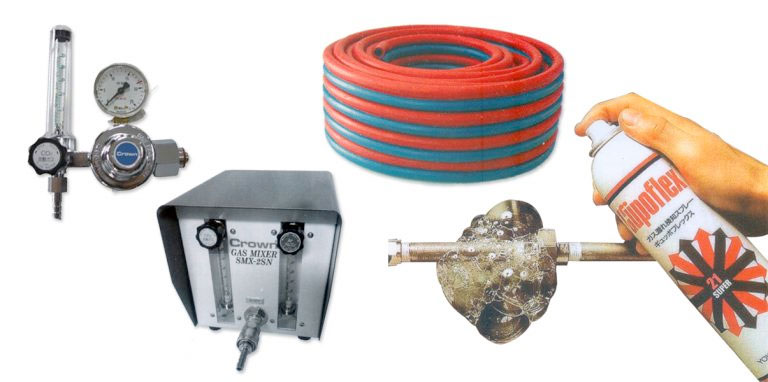 welding hoses, gas leak detector, regulators, gas mixers